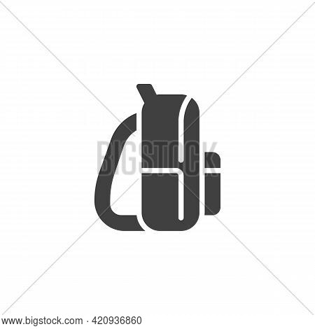 Stylish Backpack Vector Icon. Filled Flat Sign For Mobile Concept And Web Design. Womens Bag With Sh