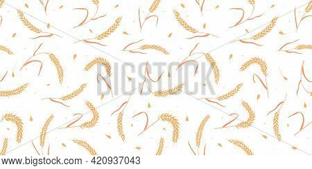 Seamless Pattern With Whole Grain Seeds Organic, Natural Ears Isolated On White Background Flat Styl