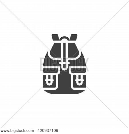 Rucksack, Backpack Vector Icon. Filled Flat Sign For Mobile Concept And Web Design. Haversack With P