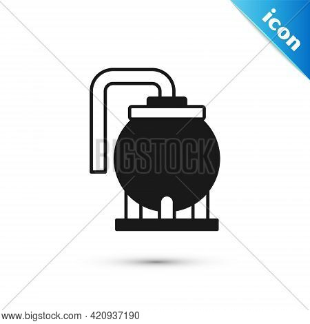 Grey Oil Tank Storage Icon Isolated On White Background. Vessel Tank For Oil And Gas Industrial. Oil