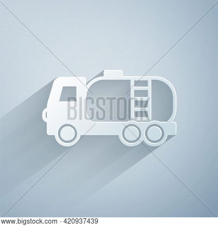 Paper Cut Tanker Truck Icon Isolated On Grey Background. Petroleum Tanker, Petrol Truck, Cistern, Oi