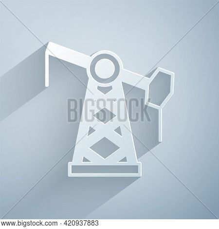 Paper Cut Oil Pump Or Pump Jack Icon Isolated On Grey Background. Oil Rig. Paper Art Style. Vector