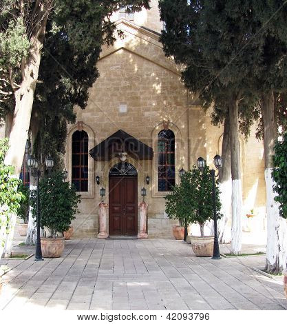 Greek Orthodox Church of St. George Cana of Galilee. Israel . Here according to the Fourth Gospel Jesus performed his first public miracle the turning of a large quantity of water into wine at a wedding feast poster