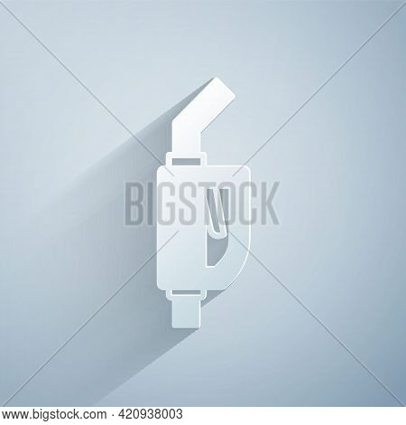 Paper Cut Gasoline Pump Nozzle Icon Isolated On Grey Background. Fuel Pump Petrol Station. Refuel Se