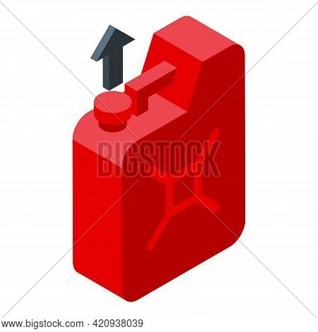 Gasoline Canister Icon. Isometric Of Gasoline Canister Vector Icon For Web Design Isolated On White