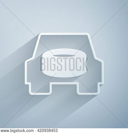 Paper Cut Spare Wheel In The Car Icon Isolated On Grey Background. Process Of Replacing The Wheel. S