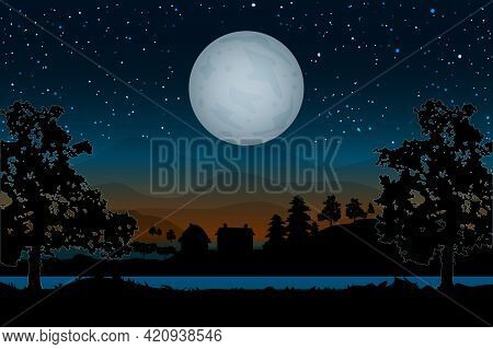 Landscape With Houses, River, Trees And Full Moon On Hills Backdrop. Night Village Scenery With Moon