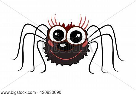 Funny Cartoon Spider Isolated On White Background. Cute Black Spider, Traditional Halloween Symbol.