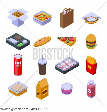 Takeaway Food Icons Set. Isometric Set Of Takeaway Food Vector Icons For Web Design Isolated On Whit