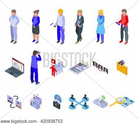 Human Resources Icons Set. Isometric Set Of Human Resources Vector Icons For Web Design Isolated On