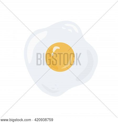 Fried Sunny Side Up Egg With One Yellow Yolk Vector Illustration. Healthy Eating, Dietary Product. B