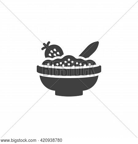 Bowl Of Porridge With Strawberry Vector Icon. Filled Flat Sign For Mobile Concept And Web Design. St