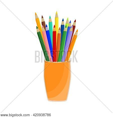 Colorful Pencils In Cup Isolated On White Background. Colored Pencils In A Glass For Office. Pencils
