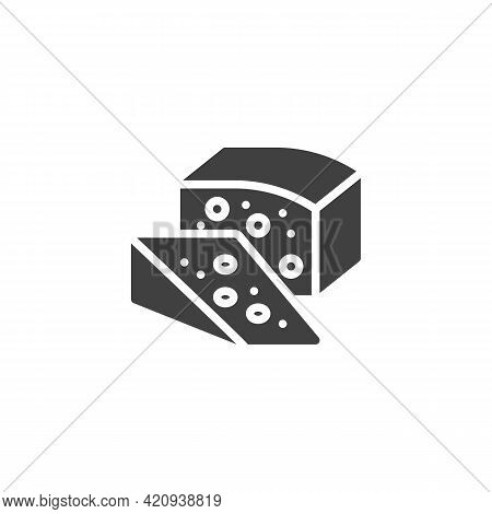 Piece Of Cheese Vector Icon. Filled Flat Sign For Mobile Concept And Web Design. Cheese With Holes G