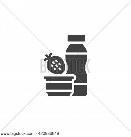 Strawberry Yoghurt Vector Icon. Filled Flat Sign For Mobile Concept And Web Design. Yoghurt Bottle A