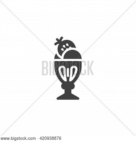 Strawberry Ice Cream Cup Vector Icon. Filled Flat Sign For Mobile Concept And Web Design. Sundae Ice
