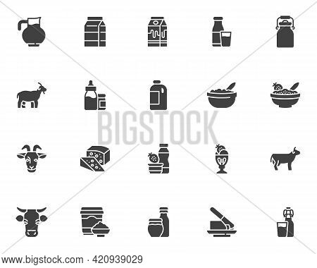 Dairy Products Vector Icons Set, Modern Solid Symbol Collection, Filled Style Pictogram Pack. Signs,