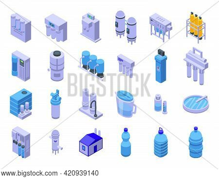 Equipment For Water Purification Icons Set. Isometric Set Of Equipment For Water Purification Vector
