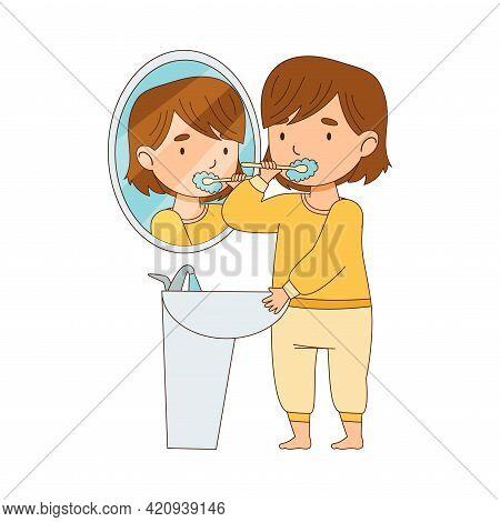 Little Girl Getting Ready To Bedtime Brushing Her Teeth Vector Illustration
