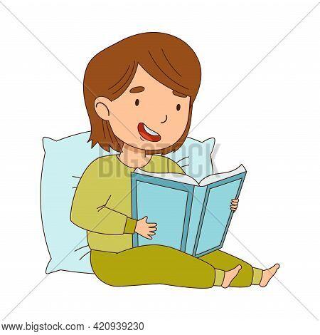 Cute Little Girl Leaning On Pillow Reading Bedtime Story Vector Illustration