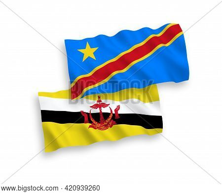 National Fabric Wave Flags Of Brunei And Democratic Republic Of The Congo Isolated On White Backgrou