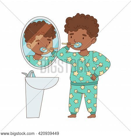 Little African American Boy Getting Ready To Bedtime Brushing Her Teeth Vector Illustration