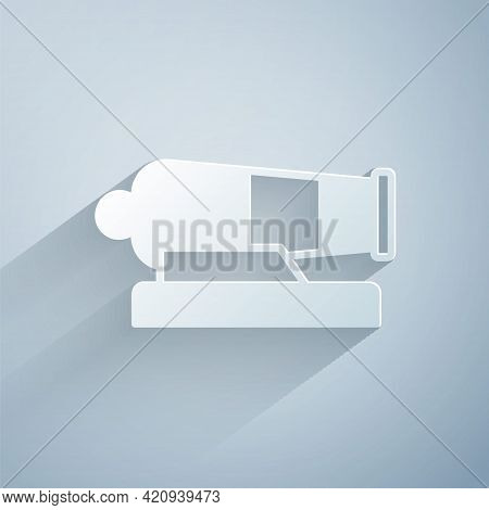 Paper Cut Cannon Icon Isolated On Grey Background. Paper Art Style. Vector