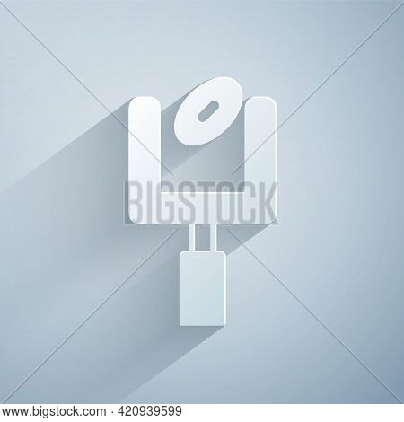 Paper Cut American Football Goal Post And Football Ball Icon Isolated On Grey Background. Paper Art