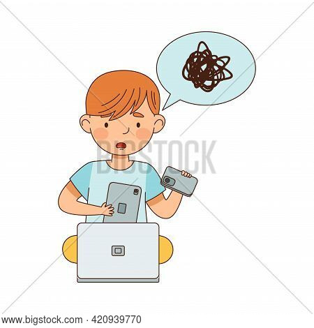 Little Boy With Smartphone In Front Of Laptop Feeling Puzzled Vector Illustration