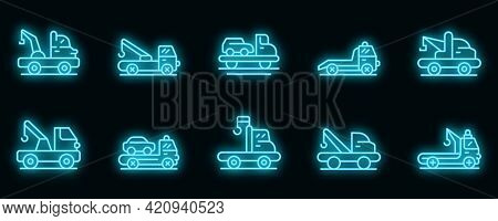 Tow Truck Icons Set. Outline Set Of Tow Truck Vector Icons Neon Color On Black