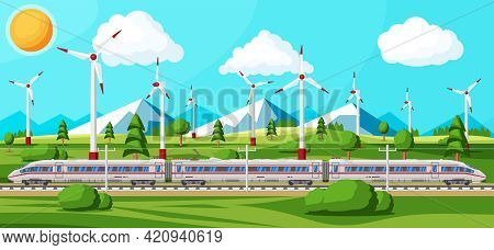 High Speed Train And Summer Landscape With Mountains. Super Streamlined Train. Passenger Express Rai