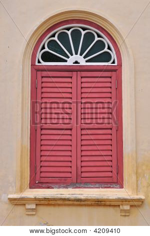 Red Louvered Window