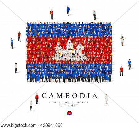 A Large Group Of People Are Standing In Blue, White And Red Robes, Symbolizing The Flag Of Cambodia.