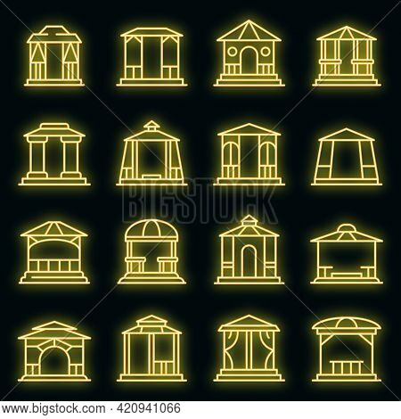 Gazebo Icons Set. Outline Set Of Gazebo Vector Icons Neon Color On Black