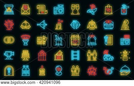 Wedding Ceremony Icons Set. Outline Set Of Wedding Ceremony Vector Icons Neon Color On Black