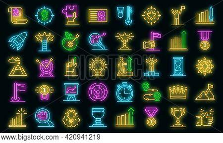 Goal Achievement Icons Set. Outline Set Of Goal Achievement Vector Icons Neon Color On Black