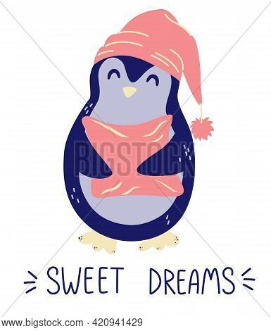 Cute Penguin With A Pillow. Sweet Dreams. Good Night Concept. Design Elements For Nursery, Baby Appa