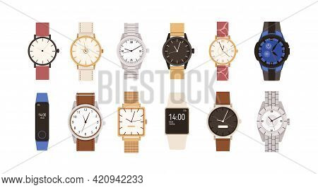 Set Of Modern And Vintage Wristwatches. Fashion Design Of Wrist Watches With Silver, Gold And Leathe
