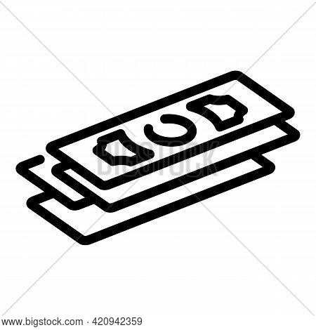 Money Bills Icon. Outline Money Bills Vector Icon For Web Design Isolated On White Background