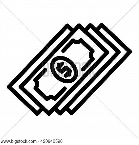 Pocket Cash Icon. Outline Pocket Cash Vector Icon For Web Design Isolated On White Background