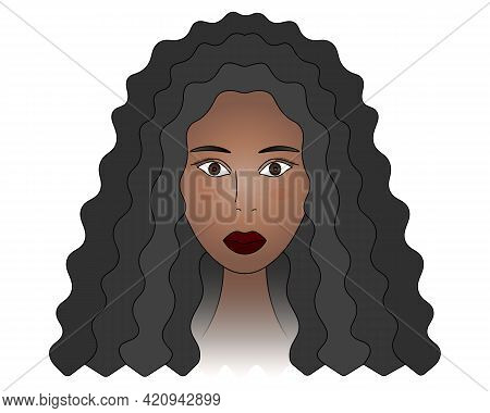 African American Girl. Head Of A Lady With Brown Eyes. Colored Vector Illustration. Woman Face With