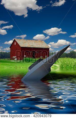 Flying saucer crash near coastal farm landscape. UFO invasion. 3D rendering