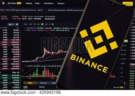 Kazan, Russia - May 18, 2021: Binance Is Cryptocurrency Exchange That Provides A Platform For Tradin
