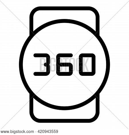 Vr Degree Icon. Outline Vr Degree Vector Icon For Web Design Isolated On White Background