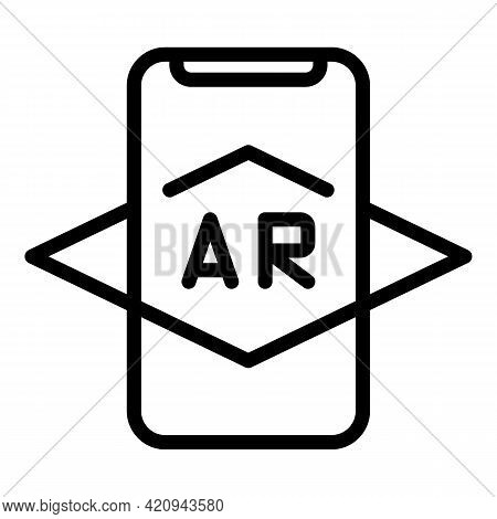 Smartphone Ar Icon. Outline Smartphone Ar Vector Icon For Web Design Isolated On White Background