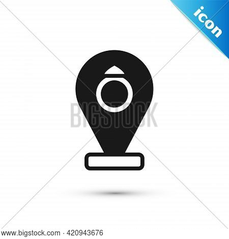 Grey Front Facade Building Jewelry Store Icon Isolated On White Background. Vector