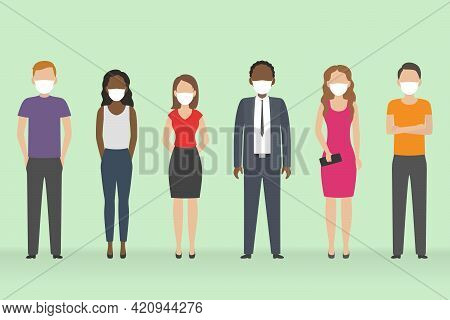 Multiethnic Group Of People In Medical Masks. Vector Illustration.