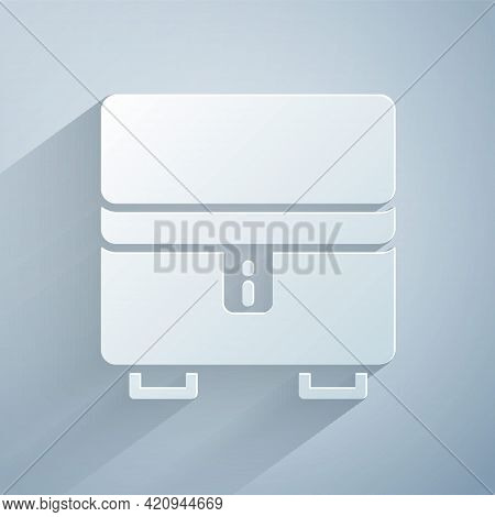 Paper Cut Jewelry Box Icon Isolated On Grey Background. Casket With Jewelry. Paper Art Style. Vector
