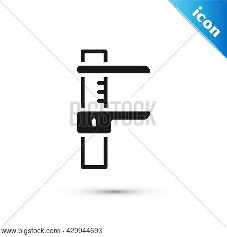 Grey Calliper Or Caliper And Scale Icon Isolated On White Background. Precision Measuring Tools. Vec