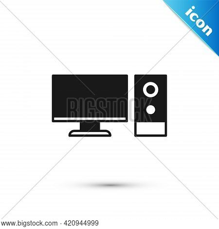Grey Computer Monitor Icon Isolated On White Background. Pc Component Sign. Vector